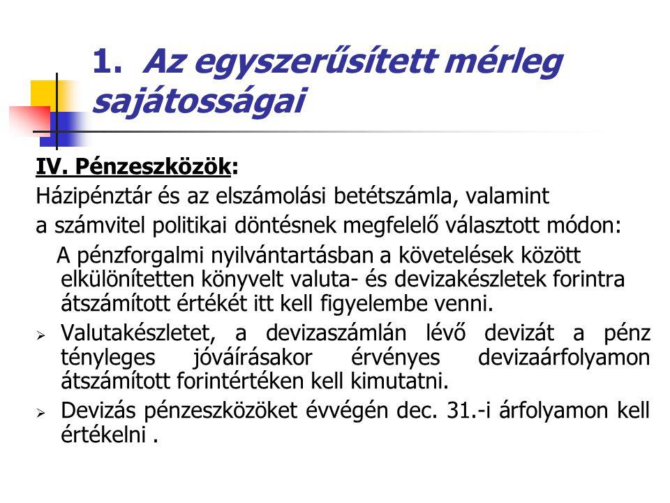 1.Az egyszerűsített mérleg sajátosságai  Források (passzívák): C.