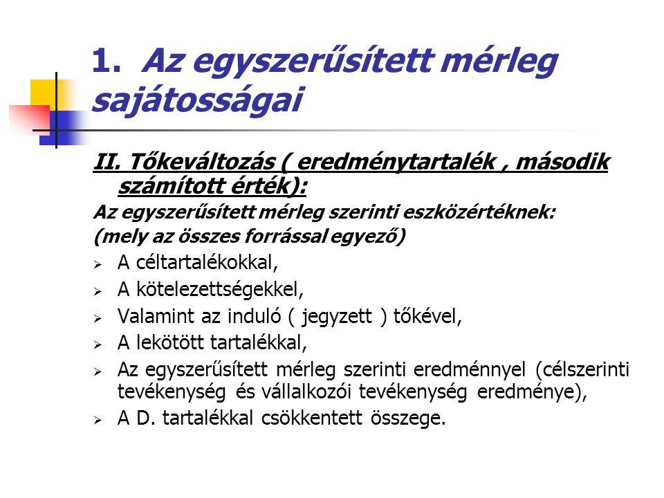 1. Az egyszerűsített mérleg sajátosságai II. Tőkeváltozás ( eredménytartalék, második számított érték): Az egyszerűsített mérleg szerinti eszközértékn