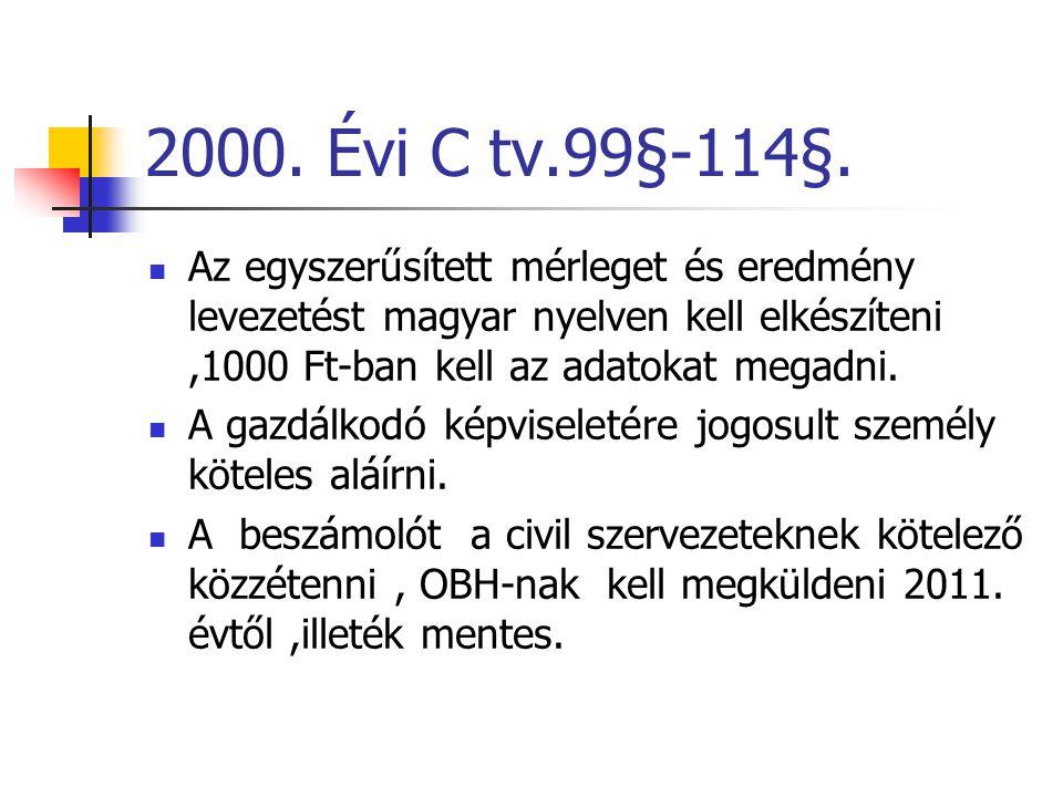2000. Évi C tv.99§-114§.  Az egyszerűsített mérleget és eredmény levezetést magyar nyelven kell elkészíteni,1000 Ft-ban kell az adatokat megadni.  A