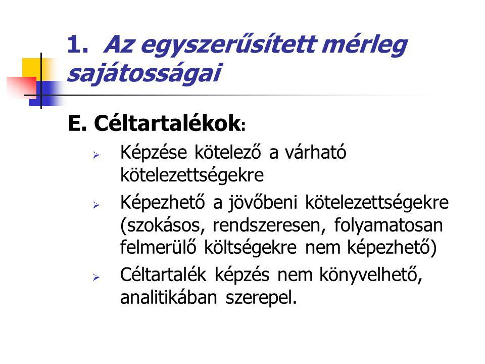 1.Az egyszerűsített mérleg sajátosságai F.