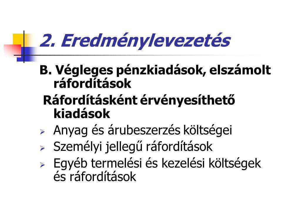 2. Eredménylevezetés B. Végleges pénzkiadások, elszámolt ráfordítások Ráfordításként érvényesíthető kiadások  Anyag és árubeszerzés költségei  Szemé