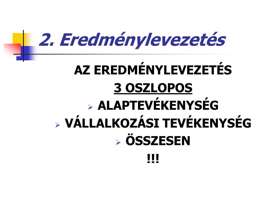 2. Eredménylevezetés AZ EREDMÉNYLEVEZETÉS 3 OSZLOPOS  ALAPTEVÉKENYSÉG  VÁLLALKOZÁSI TEVÉKENYSÉG  ÖSSZESEN !!!