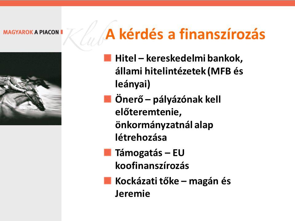 Hitel – kereskedelmi bankok, állami hitelintézetek (MFB és leányai) Önerő – pályázónak kell előteremtenie, önkormányzatnál alap létrehozása Támogatás – EU koofinanszírozás Kockázati tőke – magán és Jeremie A kérdés a finanszírozás