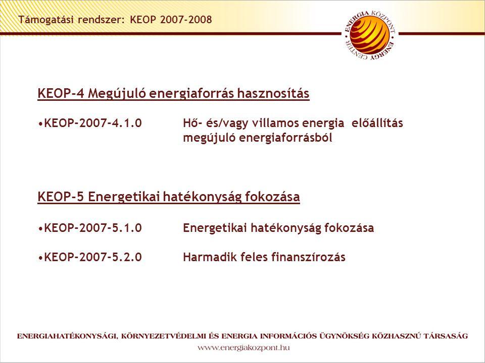 Támogatási rendszer: KEOP 2007-2008 KEOP-4 Megújuló energiaforrás hasznosítás •KEOP-2007-4.1.0 Hő- és/vagy villamos energia előállítás megújuló energiaforrásból KEOP-5 Energetikai hatékonyság fokozása •KEOP-2007-5.1.0Energetikai hatékonyság fokozása •KEOP-2007-5.2.0Harmadik feles finanszírozás