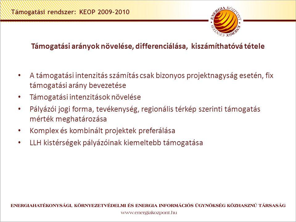Támogatási rendszer: KEOP 2009-2010 Támogatási arányok növelése, differenciálása, kiszámíthatóvá tétele • A támogatási intenzitás számítás csak bizonyos projektnagyság esetén, fix támogatási arány bevezetése • Támogatási intenzitások növelése • Pályázói jogi forma, tevékenység, regionális térkép szerinti támogatás mérték meghatározása • Komplex és kombinált projektek preferálása • LLH kistérségek pályázóinak kiemeltebb támogatása