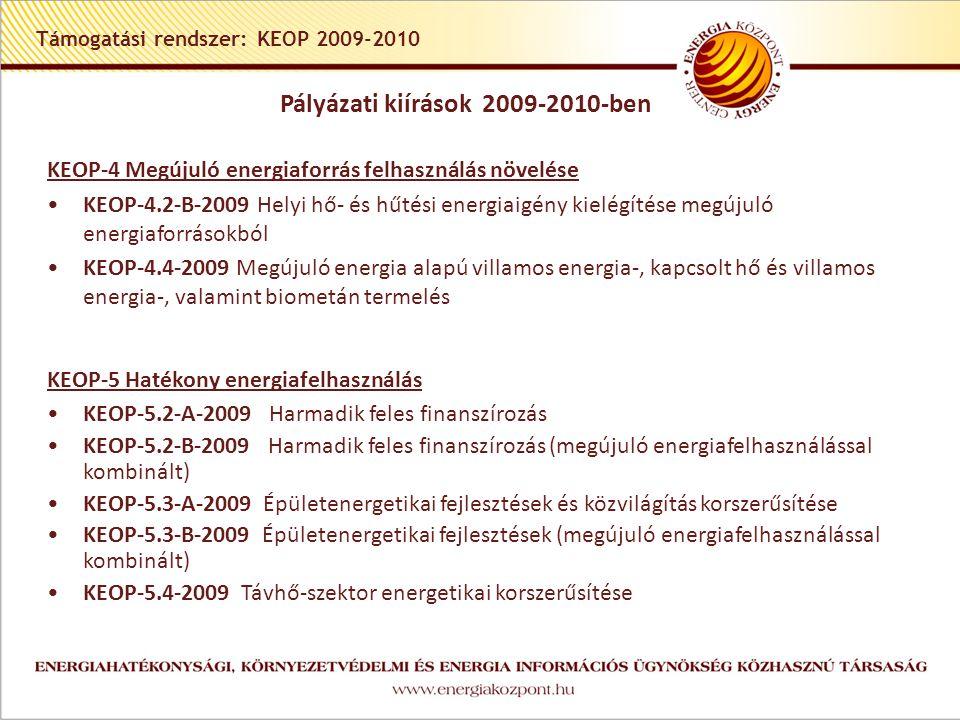 Támogatási rendszer: KEOP 2009-2010 KEOP-4 Megújuló energiaforrás felhasználás növelése •KEOP-4.2-B-2009 Helyi hő- és hűtési energiaigény kielégítése megújuló energiaforrásokból •KEOP-4.4-2009 Megújuló energia alapú villamos energia-, kapcsolt hő és villamos energia-, valamint biometán termelés KEOP-5 Hatékony energiafelhasználás •KEOP-5.2-A-2009 Harmadik feles finanszírozás •KEOP-5.2-B-2009 Harmadik feles finanszírozás (megújuló energiafelhasználással kombinált) •KEOP-5.3-A-2009 Épületenergetikai fejlesztések és közvilágítás korszerűsítése •KEOP-5.3-B-2009 Épületenergetikai fejlesztések (megújuló energiafelhasználással kombinált) •KEOP-5.4-2009 Távhő-szektor energetikai korszerűsítése Pályázati kiírások 2009-2010-ben