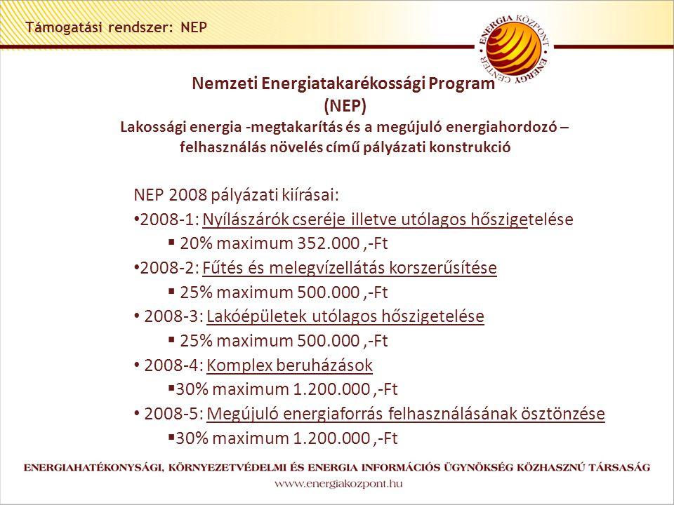 Támogatási rendszer: NEP Nemzeti Energiatakarékossági Program (NEP) Lakossági energia -megtakarítás és a megújuló energiahordozó – felhasználás növelés című pályázati konstrukció NEP 2008 pályázati kiírásai: • 2008-1: Nyílászárók cseréje illetve utólagos hőszigetelése  20% maximum 352.000,-Ft • 2008-2: Fűtés és melegvízellátás korszerűsítése  25% maximum 500.000,-Ft • 2008-3: Lakóépületek utólagos hőszigetelése  25% maximum 500.000,-Ft • 2008-4: Komplex beruházások  30% maximum 1.200.000,-Ft • 2008-5: Megújuló energiaforrás felhasználásának ösztönzése  30% maximum 1.200.000,-Ft