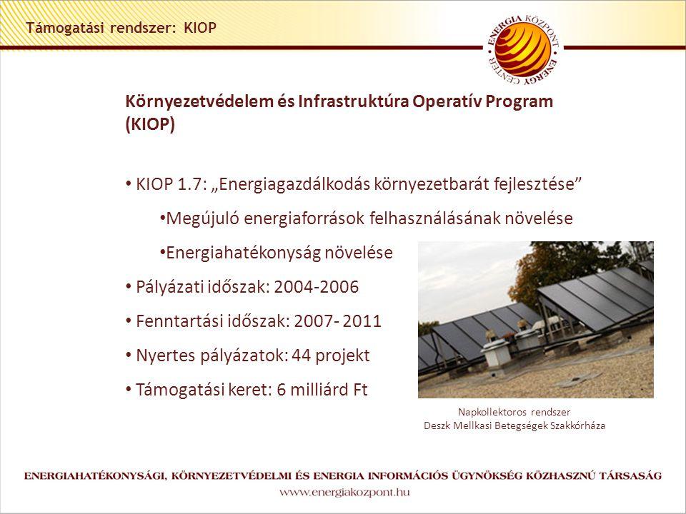 """Támogatási rendszer: KIOP Környezetvédelem és Infrastruktúra Operatív Program (KIOP) • KIOP 1.7: """"Energiagazdálkodás környezetbarát fejlesztése • Megújuló energiaforrások felhasználásának növelése • Energiahatékonyság növelése • Pályázati időszak: 2004-2006 • Fenntartási időszak: 2007- 2011 • Nyertes pályázatok: 44 projekt • Támogatási keret: 6 milliárd Ft Napkollektoros rendszer Deszk Mellkasi Betegségek Szakkórháza"""