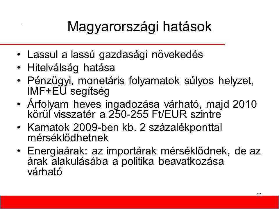11 Magyarországi hatások •Lassul a lassú gazdasági növekedés •Hitelválság hatása •Pénzügyi, monetáris folyamatok súlyos helyzet, IMF+EU segítség •Árfolyam heves ingadozása várható, majd 2010 körül visszatér a 250-255 Ft/EUR szintre •Kamatok 2009-ben kb.