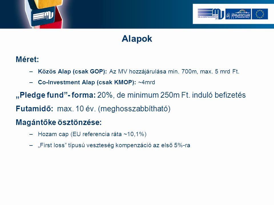 """Méret: –Közös Alap (csak GOP): Az MV hozzájárulása min. 700m, max. 5 mrd Ft. –Co-Investment Alap (csak KMOP): ~4mrd """"Pledge fund""""- forma: 20%, de mini"""