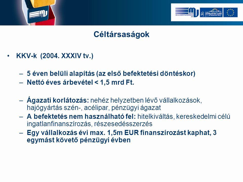 Céltársaságok •KKV-k (2004. XXXIV tv.) –5 éven belüli alapítás (az első befektetési döntéskor) –Nettó éves árbevétel < 1,5 mrd Ft. –Ágazati korlátozás