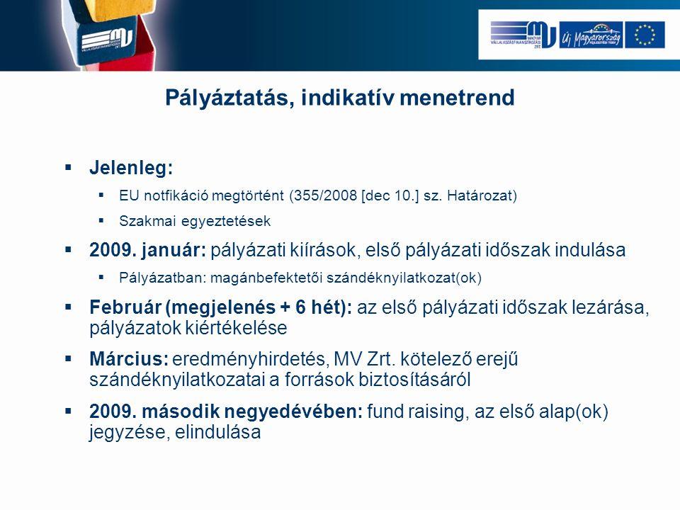 Pályáztatás, indikatív menetrend  Jelenleg:  EU notfikáció megtörtént (355/2008 [dec 10.] sz. Határozat)  Szakmai egyeztetések  2009. január: pály