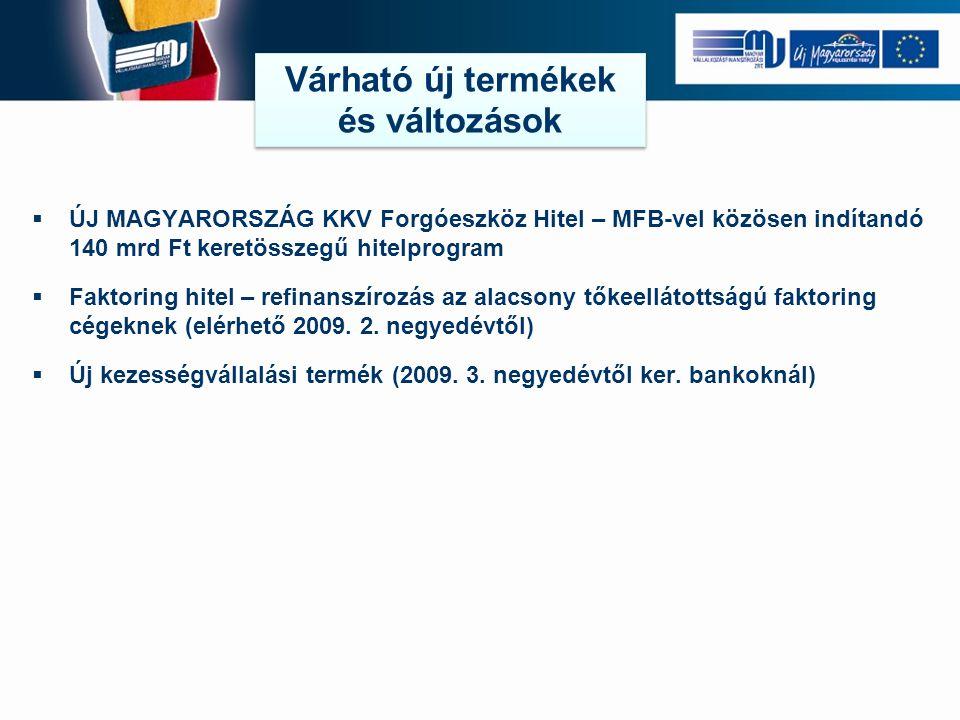 ÚJ MAGYARORSZÁG KKV Forgóeszköz Hitel – MFB-vel közösen indítandó 140 mrd Ft keretösszegű hitelprogram  Faktoring hitel – refinanszírozás az alacso