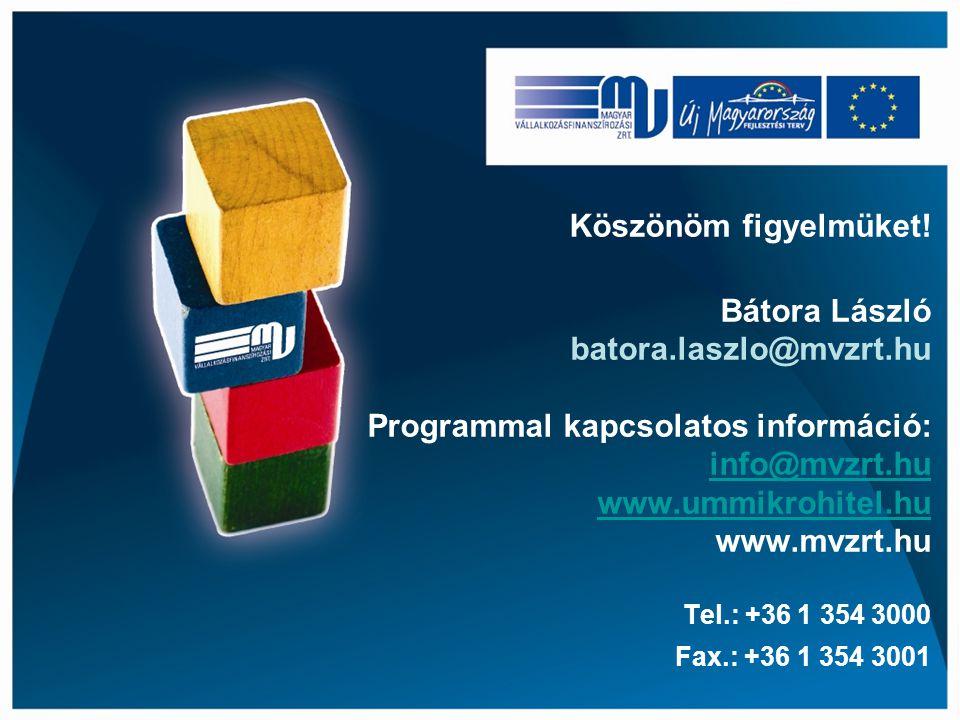 Köszönöm figyelmüket! Bátora László batora.laszlo@mvzrt.hu Programmal kapcsolatos információ: info@mvzrt.hu www.ummikrohitel.hu www.mvzrt.hu Tel.: +36