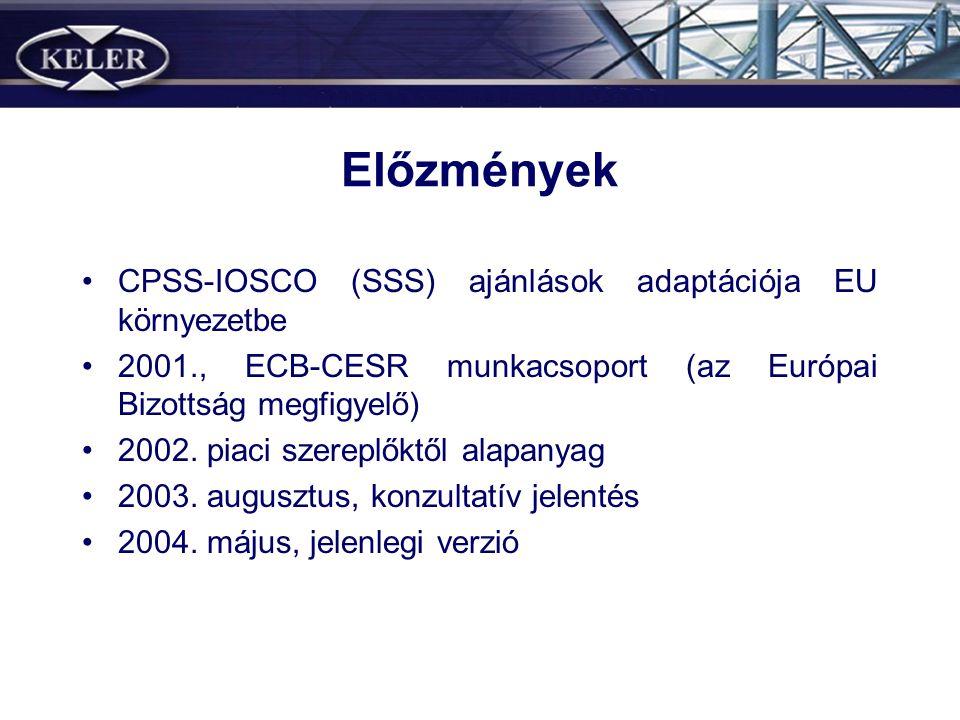 Előzmények •CPSS-IOSCO (SSS) ajánlások adaptációja EU környezetbe •2001., ECB-CESR munkacsoport (az Európai Bizottság megfigyelő) •2002.