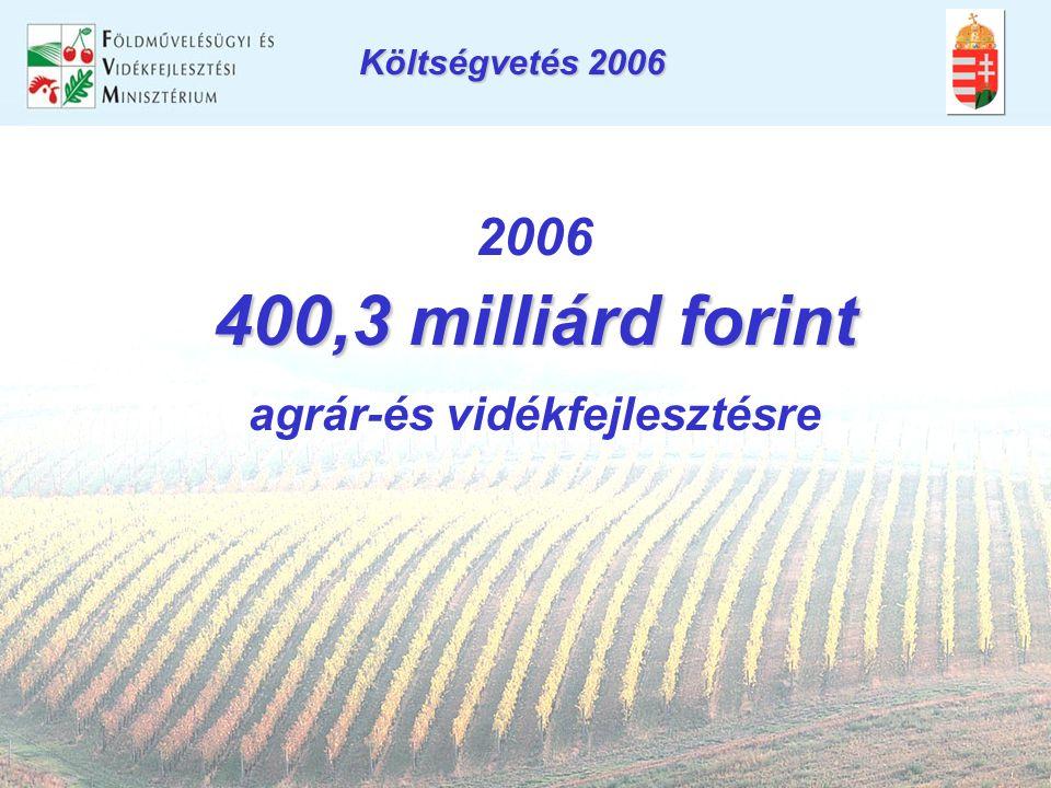 Költségvetés 2006 2006 400,3 milliárd forint agrár-és vidékfejlesztésre