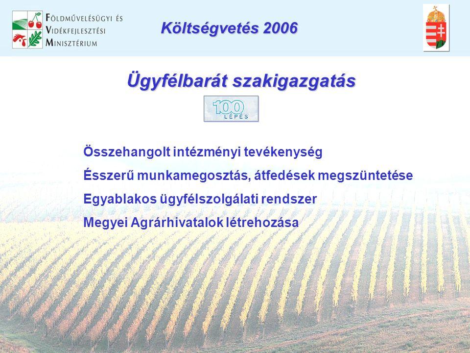 Ügyfélbarát szakigazgatás Összehangolt intézményi tevékenység Ésszerű munkamegosztás, átfedések megszüntetése Egyablakos ügyfélszolgálati rendszer Megyei Agrárhivatalok létrehozása Költségvetés 2006