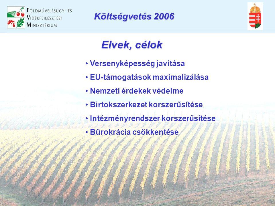 Elvek, célok • Versenyképesség javítása • EU-támogatások maximalizálása • Nemzeti érdekek védelme • Birtokszerkezet korszerűsítése • Intézményrendszer korszerűsítése • Bürokrácia csökkentése Költségvetés 2006