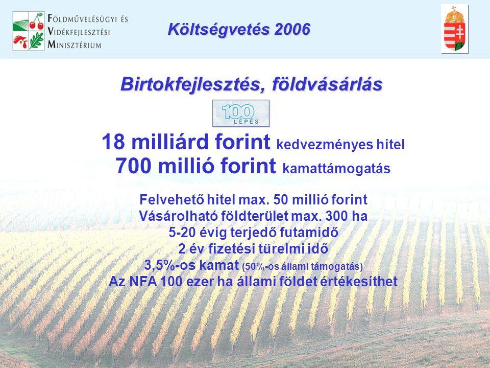 Birtokfejlesztés, földvásárlás 18 milliárd forint kedvezményes hitel 700 millió forint kamattámogatás Felvehető hitel max.