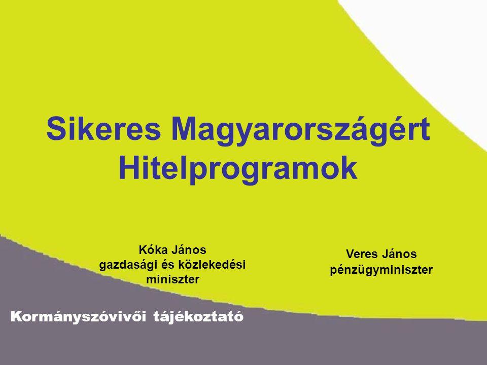 Kormányszóvivői tájékoztató Agrár Fejlesztési Hitelprogram 40 Mrd Ft Önkormányzati Infrastruktúrafejlesztési Hitelprogram 60 Mrd Ft 410 Mrd Ft Vállalkozásfejlesztési hitelprogram 310 Mrd Ft Sikeres Magyarországért Hitelprogramok