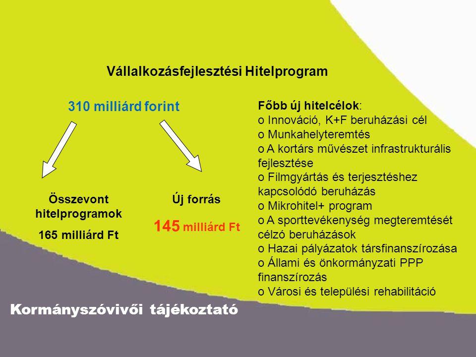 Kormányszóvivői tájékoztató Vállalkozásfejlesztési Hitelprogram 310 milliárd forint Összevont hitelprogramok 165 milliárd Ft Új forrás 145 milliárd Ft Főbb új hitelcélok: o Innováció, K+F beruházási cél o Munkahelyteremtés o A kortárs művészet infrastrukturális fejlesztése o Filmgyártás és terjesztéshez kapcsolódó beruházás o Mikrohitel+ program o A sporttevékenység megteremtését célzó beruházások o Hazai pályázatok társfinanszírozása o Állami és önkormányzati PPP finanszírozás o Városi és települési rehabilitáció