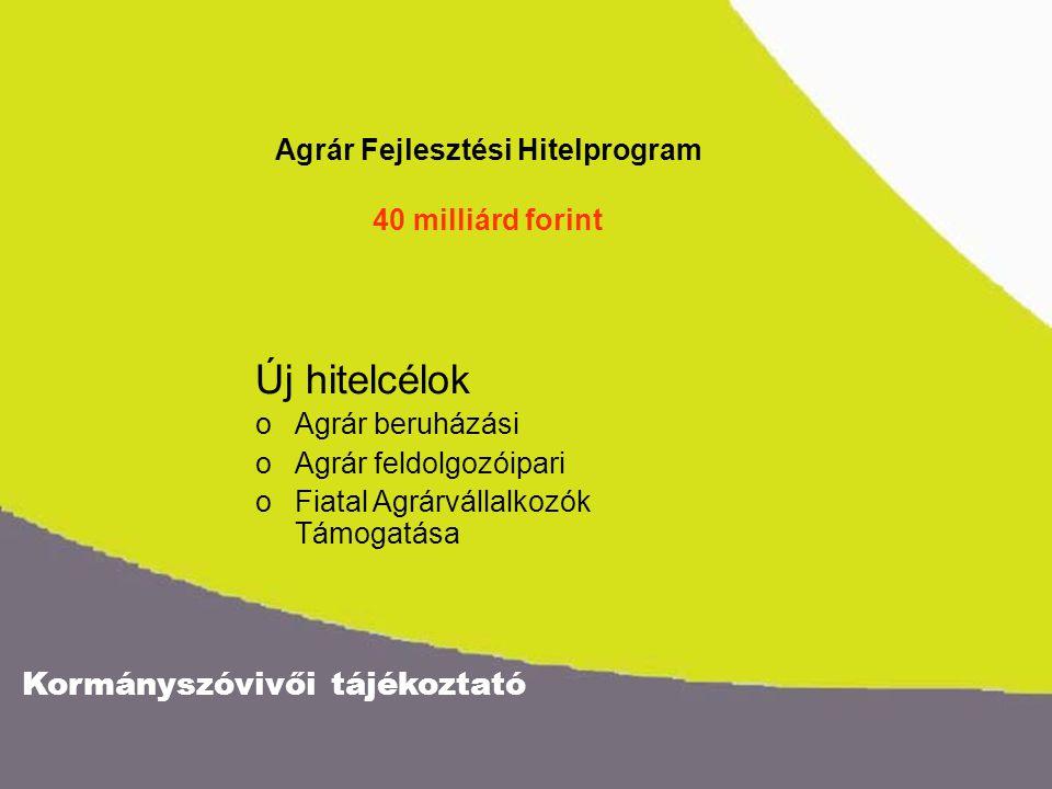 Kormányszóvivői tájékoztató Agrár Fejlesztési Hitelprogram 40 milliárd forint Új hitelcélok oAgrár beruházási oAgrár feldolgozóipari oFiatal Agrárváll