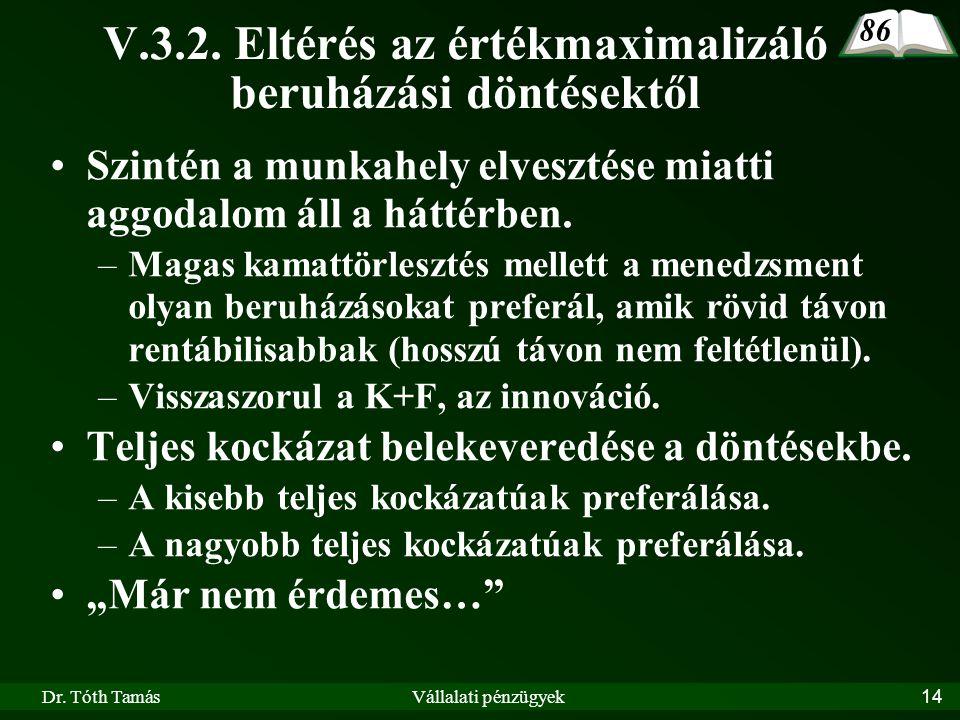 Dr. Tóth TamásVállalati pénzügyek14 V.3.2.