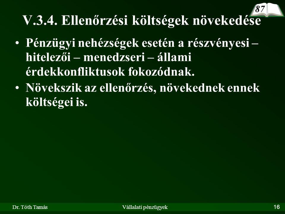 Dr. Tóth TamásVállalati pénzügyek16 V.3.4.