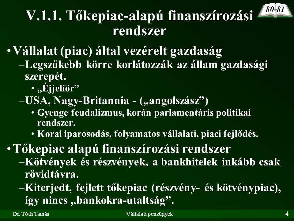 """Dr. Tóth TamásVállalati pénzügyek4 •Vállalat (piac) által vezérelt gazdaság –Legszűkebb körre korlátozzák az állam gazdasági szerepét. •""""Éjjeliőr"""" –US"""