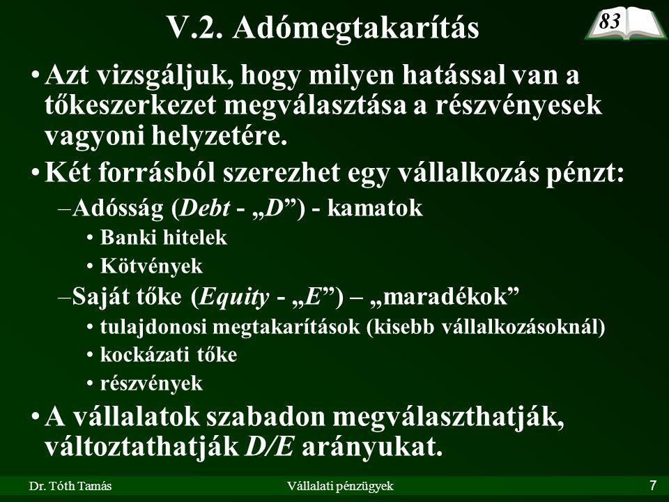 Dr.Tóth TamásVállalati pénzügyek28 V.5.2.