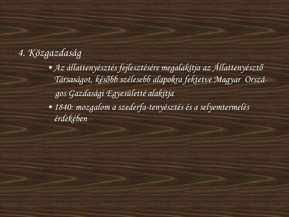 4. Közgazdaság •Az állattenyésztés fejlesztésére megalakítja az Állattenyésztő Társaságot, később szélesebb alapokra fektetve Magyar Orszá- gos Gazdas