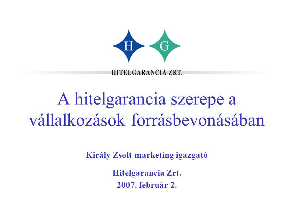 A hitelgarancia szerepe a vállalkozások forrásbevonásában Király Zsolt marketing igazgató Hitelgarancia Zrt. 2007. február 2.