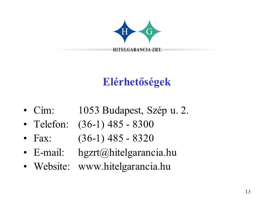 13 Elérhetőségek •Cím:1053 Budapest, Szép u. 2. •Telefon:(36-1) 485 - 8300 •Fax:(36-1) 485 - 8320 •E-mail:hgzrt@hitelgarancia.hu •Website:www.hitelgar
