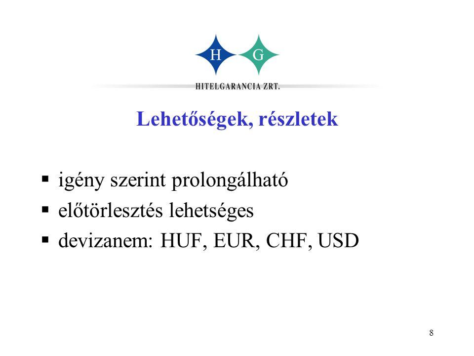 8 Lehetőségek, részletek  igény szerint prolongálható  előtörlesztés lehetséges  devizanem: HUF, EUR, CHF, USD