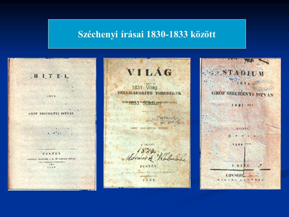 1830. Hitel 1831. Világ 1833. Stádium Széchenyi írásai 1830-1833 között