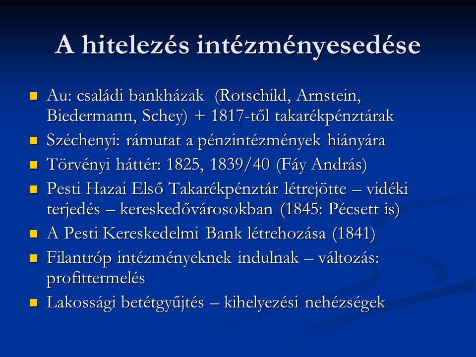 A hitelezés intézményesedése  Au: családi bankházak (Rotschild, Arnstein, Biedermann, Schey) + 1817-től takarékpénztárak  Széchenyi: rámutat a pénzi