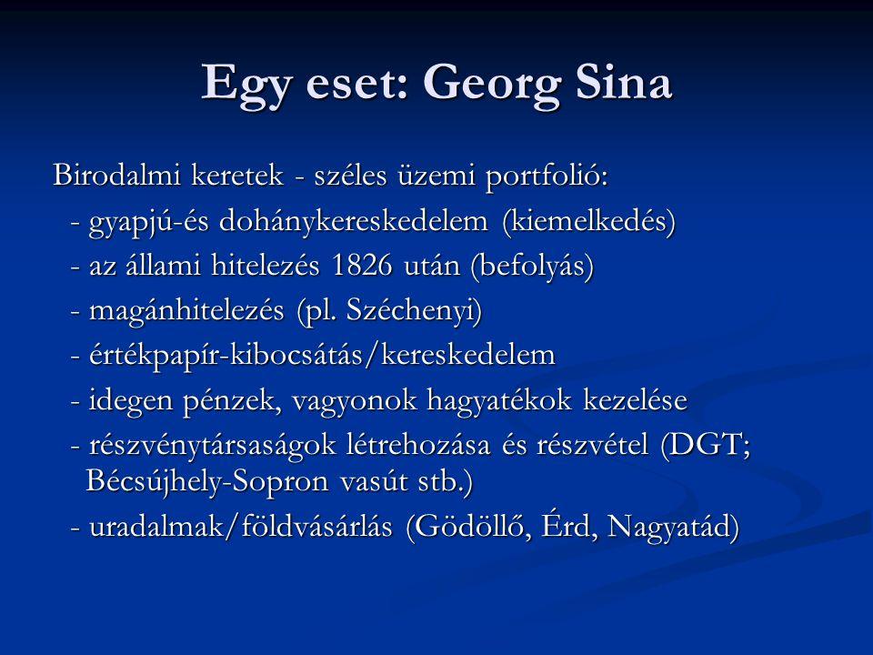 Egy eset: Georg Sina Birodalmi keretek - széles üzemi portfolió: - gyapjú-és dohánykereskedelem (kiemelkedés) - gyapjú-és dohánykereskedelem (kiemelke
