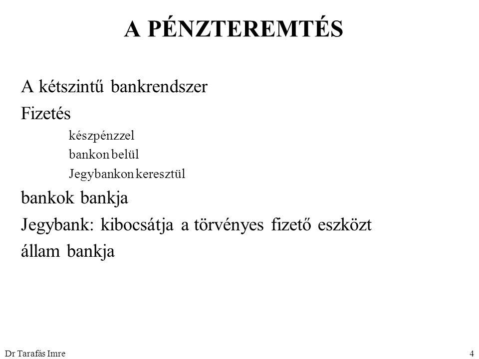 Dr Tarafás Imre4 A PÉNZTEREMTÉS A kétszintű bankrendszer Fizetés készpénzzel bankon belül Jegybankon keresztül bankok bankja Jegybank: kibocsátja a tö