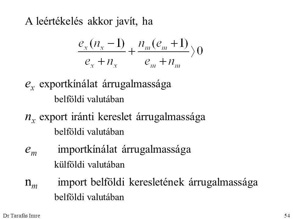 Dr Tarafás Imre54 A leértékelés akkor javít, ha e x exportkínálat árrugalmassága belföldi valutában n x export iránti kereslet árrugalmassága belföldi
