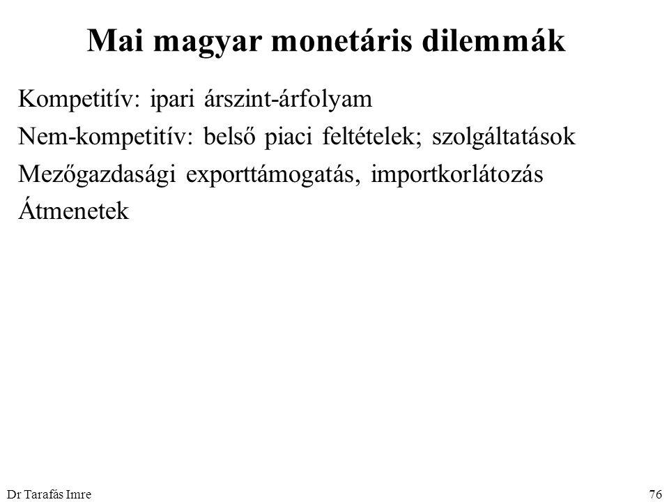 Dr Tarafás Imre76 Mai magyar monetáris dilemmák Kompetitív: ipari árszint-árfolyam Nem-kompetitív: belső piaci feltételek; szolgáltatások Mezőgazdasági exporttámogatás, importkorlátozás Átmenetek