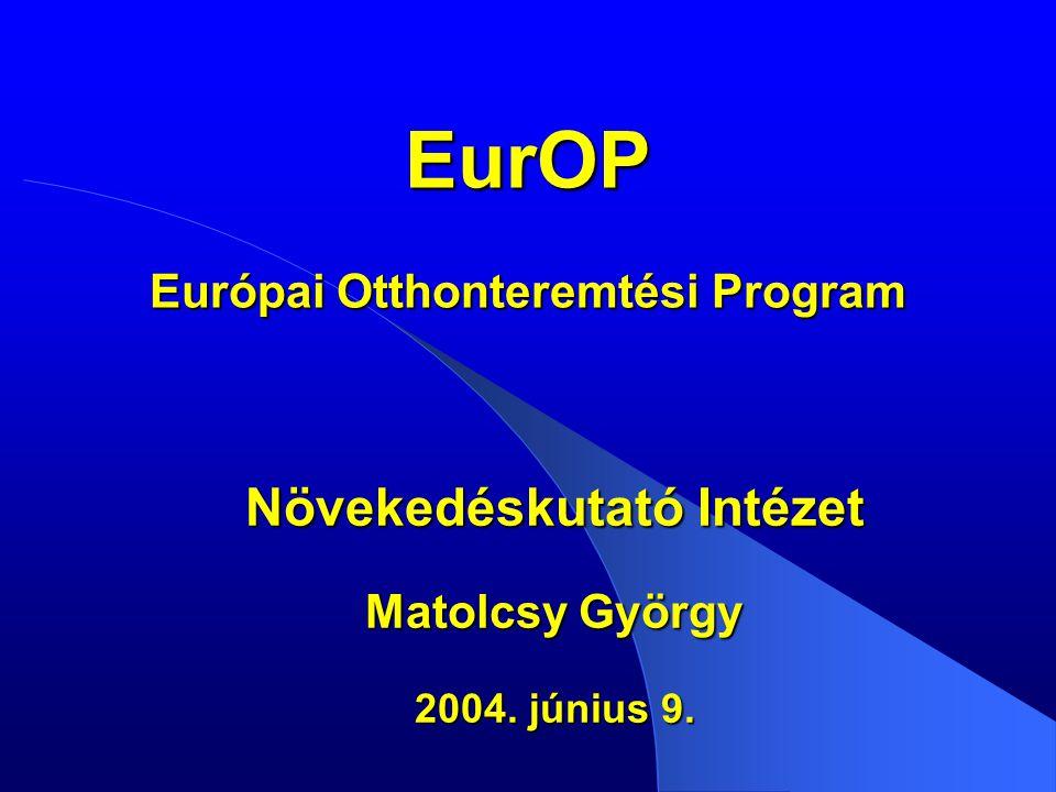 EurOP Európai Otthonteremtési Program Növekedéskutató Intézet Matolcsy György 2004. június 9.
