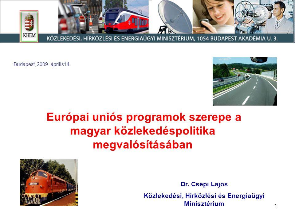 1 Dr. Csepi Lajos Közlekedési, Hírközlési és Energiaügyi Minisztérium Budapest, 2009. április14. Európai uniós programok szerepe a magyar közlekedéspo