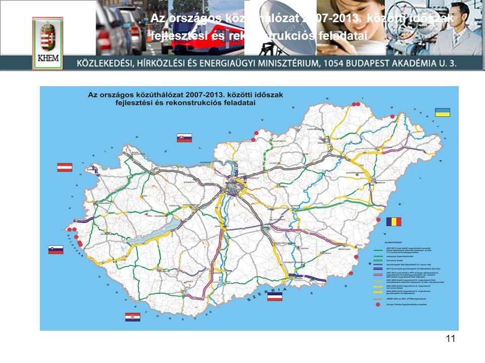 11 Az országos közúthálózat 2007-2013. közötti időszak fejlesztési és rekonstrukciós feladatai