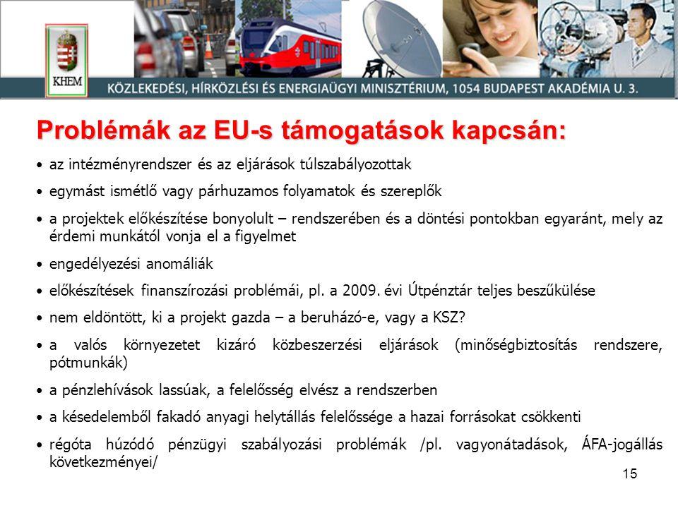 15 Problémák az EU-s támogatások kapcsán: •az intézményrendszer és az eljárások túlszabályozottak •egymást ismétlő vagy párhuzamos folyamatok és szere