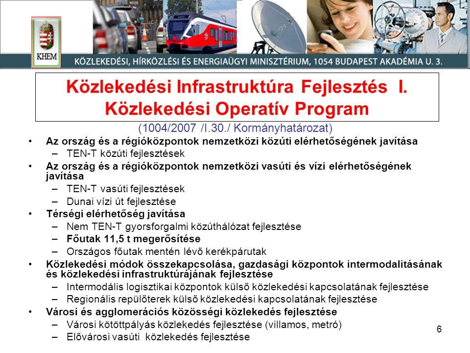 6 Közlekedési Infrastruktúra Fejlesztés I. Közlekedési Operatív Program (1004/2007 /I.30./ Kormányhatározat) •Az ország és a régióközpontok nemzetközi