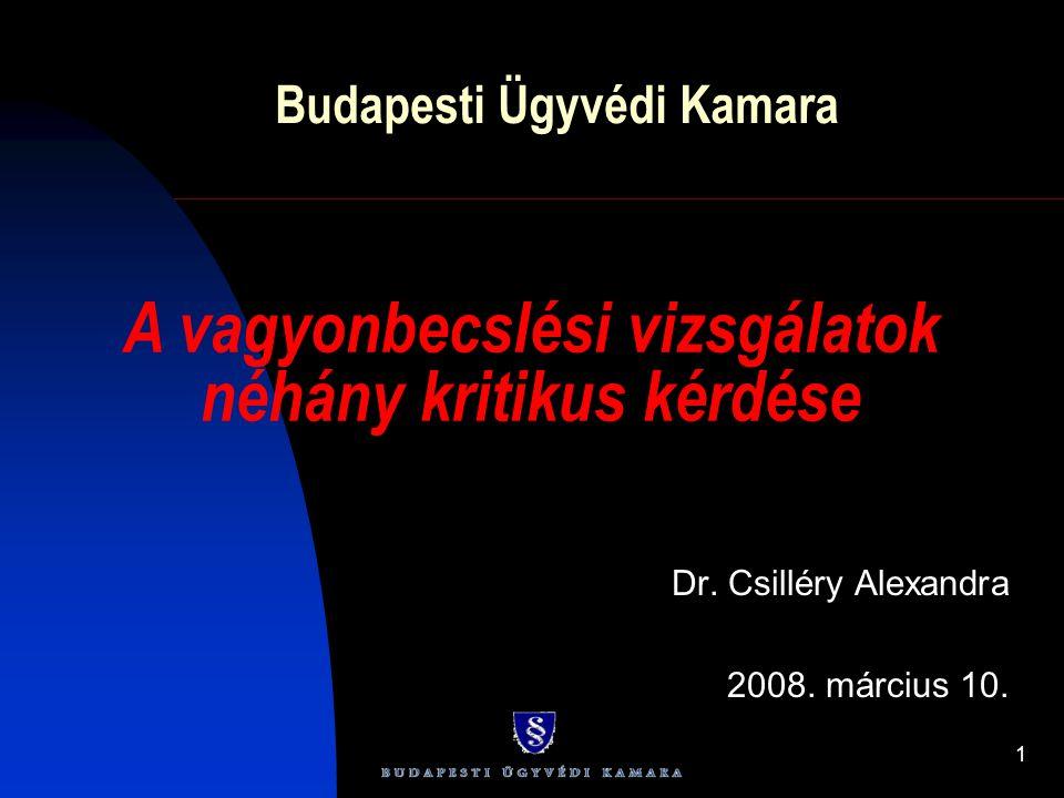 1 Budapesti Ügyvédi Kamara Dr. Csilléry Alexandra 2008. március 10. A vagyonbecslési vizsgálatok néhány kritikus kérdése
