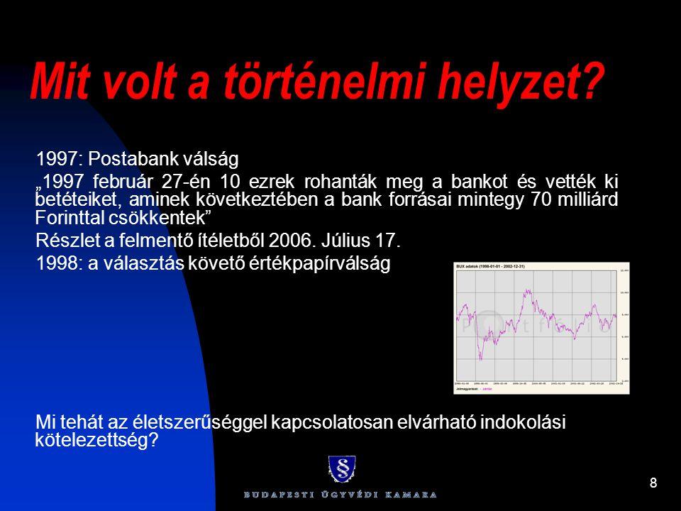 """8 Mit volt a történelmi helyzet? 1997: Postabank válság """"1997 február 27-én 10 ezrek rohanták meg a bankot és vették ki betéteiket, aminek következtéb"""