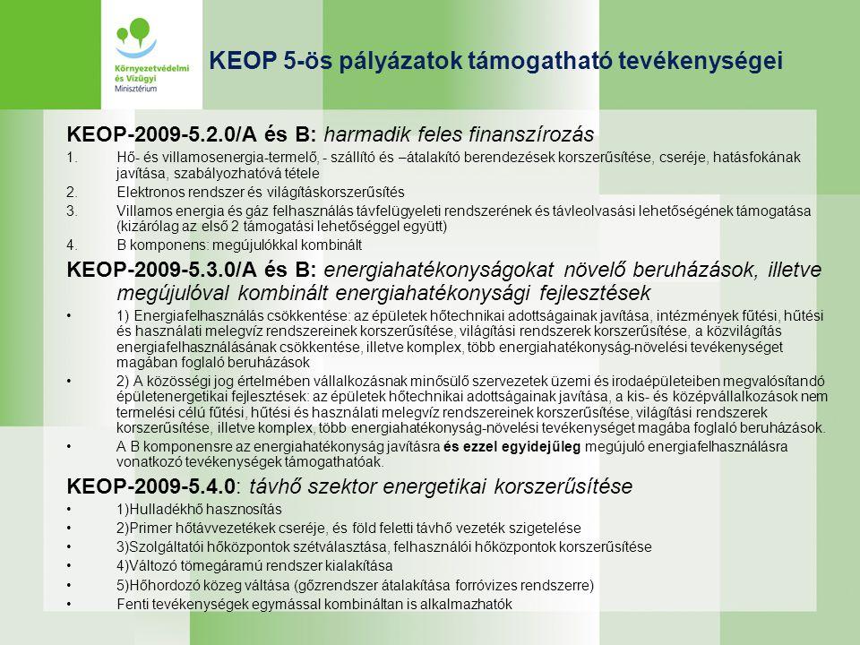 KEOP 5-ös pályázatok támogatható tevékenységei KEOP-2009-5.2.0/A és B: harmadik feles finanszírozás 1.Hő- és villamosenergia-termelő, - szállító és –á