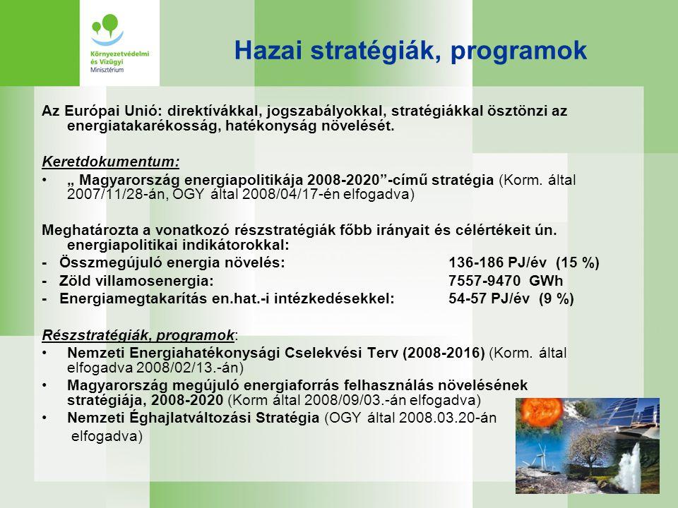 Stratégia a magyarországi megújuló energiaforrások felhasználásának növelésére 2008-2020 Legfőbb stratégiai cél, hogy Magyarországon 2020-ban a megújuló energiaforrások felhasználása érje el a 186,3 PJ/év mértéket (ez 2006-ban 55 PJ/év volt ) •A stratégia célkitűzésen belül: •- a zöldáram termelés a 2006.