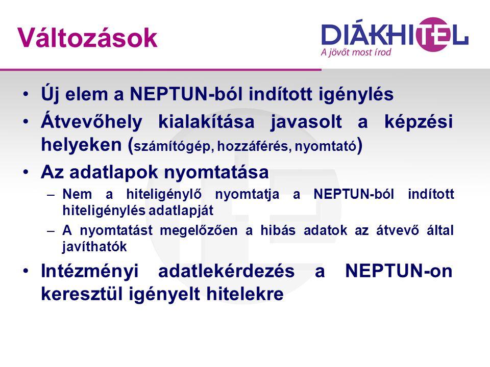 Változások •Új elem a NEPTUN-ból indított igénylés •Átvevőhely kialakítása javasolt a képzési helyeken ( számítógép, hozzáférés, nyomtató ) •Az adatla